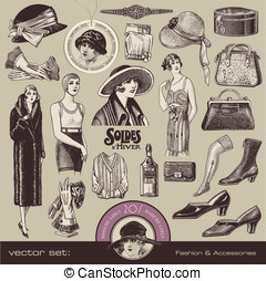 Ladies' Fashion and Accessories - vector set: ladies fashion...