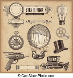 Steampunk design elements - vector set: Steampunk design...