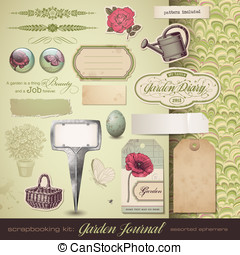 Gardening - assorted ephemera - scrapbooking kit: Gardening...