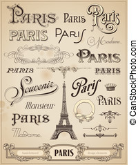 Hand-lettered design elements - Paris calligraphy - set of...