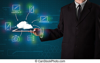Businessman showing hand drawn cloud computing - Young...
