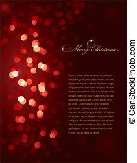 Christmas lights - red blurry Christmas lights (vector, no...