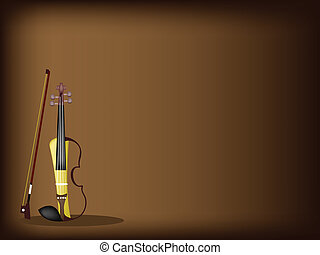 A Beautiful Modern Violin on Dark Brown Background - Music...