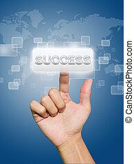 Hand pressing success button