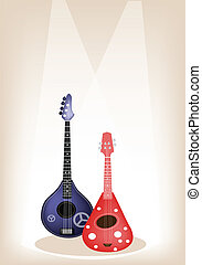 Two Beautiful Ukulele Guitar on Brown Stage Background -...