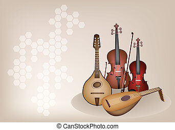 Antique Musical Instrument Strings on Brown Stage Background...