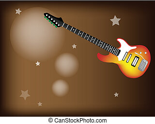A Red Electric Guitar on Star Background - Music Instrument,...