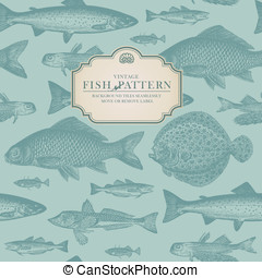 Retro fish pattern - seamlessly tiling retro fish pattern...