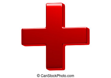 Red Cross - This illustration is a 3D render of a red cross...