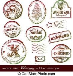 Christmas rubber stamps - vector set: detailed vintage...