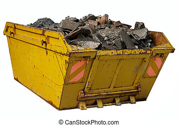 A skip full of rubble isolated over white