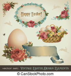 Vintage Easter design elements - vintage Easter design...