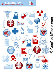 Emergency - set of 40 simple medical icons and warning signs...