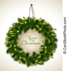 Christmas wreath - realistic Christmas wreath with fir and...