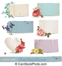 Floral paper banners - vector set: floral paper banners -...