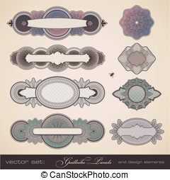 Guilloche security panels - vector set: guilloche panels -...