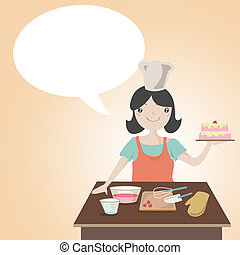 Woman preparing christmas cake with speech bubble , Cartoon...