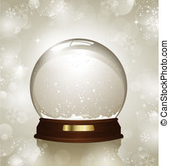 Snowglobe - empty snowglobe against a bright defocused...