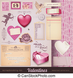 Ephemera and design elements - scrapbooking kit: Valentines...
