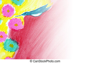 Hummingbird - A hummingbird painting with a white wash to...