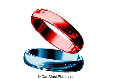 Red and blue rings isolated on white background.