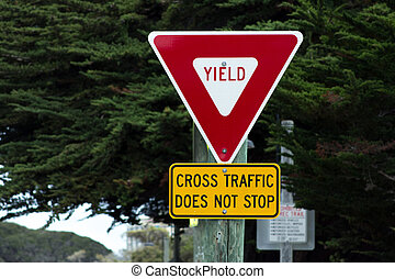 Yield Sign Cross Traffic Does Not Stop Road Sign