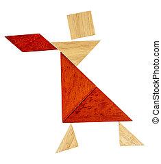 tangram, dançarino, ou, Garçonete