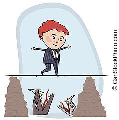 Man walking a tightrope - Man in a business suit walking a...