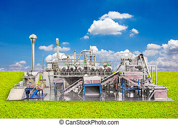 industrial zone steel pipelines stainless with blue sky background
