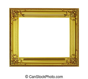 Old antique gold frame isolated