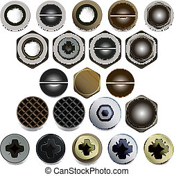 Screws, bolts and nuts heads vector set. Isolated on white...
