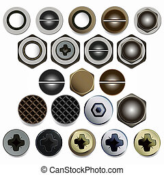 Screws, bolts and nuts heads set. Isolated on white...