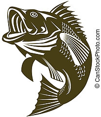 Largemouth Bass - Illustratoion of a largemouth bass jumping
