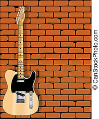 Guitar Wall - A Fender Telecaster in front of a red brick...