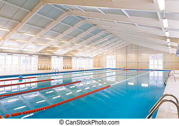Indoors swimming pool with blue water