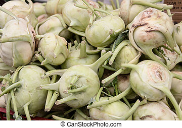 Kohlrabi - Display of kohlrabi at the farmer's market.