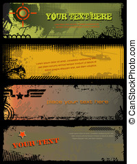 Grungy military banners - set of 4 grungy military banners...