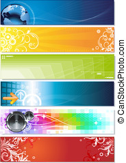 Colorful banners - six colorful banners on different topics...