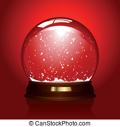 Empty snowglobe over red - realistic illustration of an...