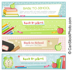 Pastel-colored banners - back to school - set of four...