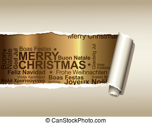 Background with Christmas greetings - ripped paper...