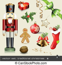 Assorted classical holiday items - vector set: traditional...