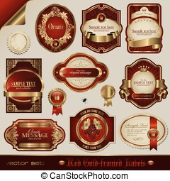Red and golden labels - vector set: red and golden labels in...
