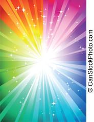 arcobaleno, sunburst, fondo
