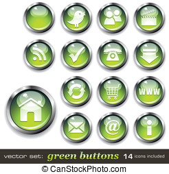 Buttons and icons - vector set: green buttons - aqua-style...