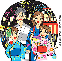 Family, summer festival - Japanese family, summer festival,...