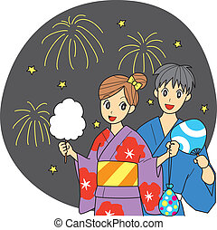 Japanese summer festival, couple