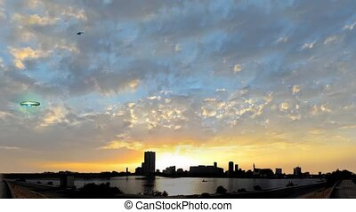 jeddah downtown and UFO at sunset - jeddah downtown with ET...