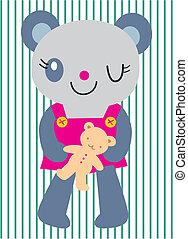 vector bear holding doll