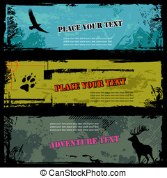 Grungy wildlife banners - set of three grungy wildlife...